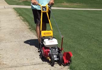 using commercial lawn edger